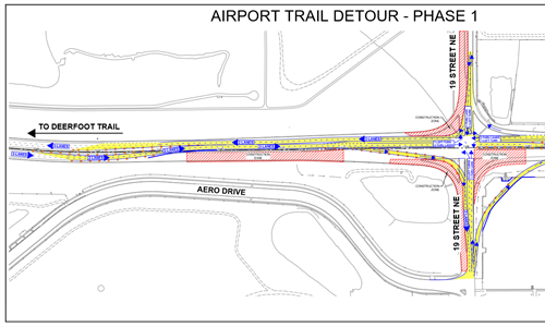 Major detour on Airport Trail for interchanges project May 16