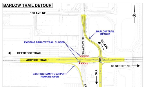 Major detour on Barlow Trail for interchanges project October 10